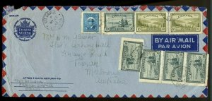 $1.25 for 5x 25c rate weight > AUSTRALIA 1947  PEACE issue cover Canada
