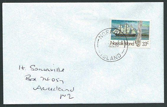 NORFOLK IS 1995 cover to New Zealand - 33c Whaler Costa Rica...............42808
