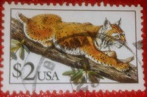 USA 2482 – 1990 $2 Bobcat used XF