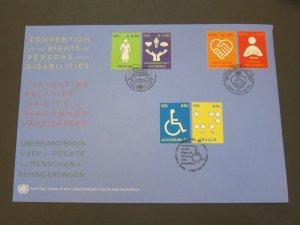 United Nations (NY,Vienna,Geneva) 2008 Sc 427-8,485-6,960-1 FDC