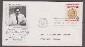 1096 Ramon Magsaysay ArtCraft FDC with neatly typewritten address