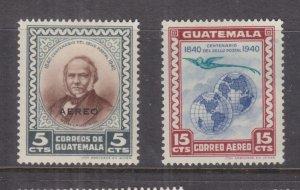 GUATEMALA, 1946 Stamp Centenary, Air pair, lhm.