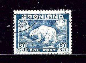 Greenland 7 Used 1938 Polar Bear        (P112)