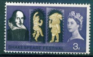 Great Britain 3d Shakespeare issue of 1964, Scott 402 MNH