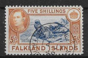 FALKLAND ISLANDS SG161b 1938 5/= INDIGO & PALE YELLOW-BROWN USED