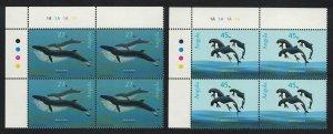 Angola Whales Dolphins Marine Mammals 2v Corner Blocks of 4 SG#1683-1684