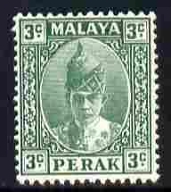 Malaya - Perak 1938-41 Sultan 3c green mounted mint SG106
