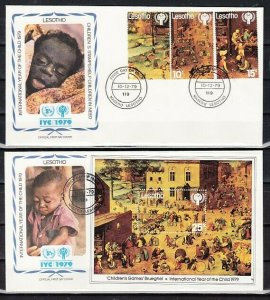 Lesotho, Scott cat. 276-280, 281. Int`l Year of the Child. 2 First day Covers. *