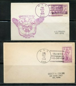 US USS ERIE LOT OF 2 DIFFERENT COVERS 1936 AS SHOWN (5)