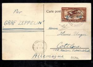 1931 Cairo Egypt Graf Zeppelin LZ 127 Airmail Postcard Cover to Germany # C3