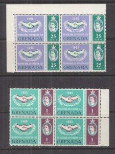 GRENADA, 1965 International Cooperation Year pair, blocks of 4, 1c Broken Leaves