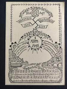1935 Saar Germany Freedom Postcard Cover With Song Music Notes Lyrics