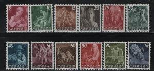 LIECHTENSTEIN 247-258 (12) Set, Hinged, 1951 Farming