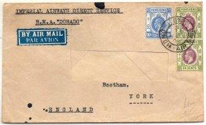 Hong Kong: 1935 airmail cover to York, UK