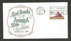1962 US Girl Scouts Lynnfield Mass 50th anniversary slogan cancel Boerger ABC