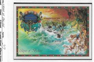Cayes of Belize 1985 S/S, $5 British Ship Comet Shipwreck Scott # 27,VF MNH**