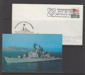NAVY SHIP USS PREBLE (DLG-15) -  with picture postcard - NICE!!