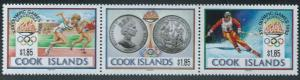 Cook Islands - 1992 Olympics - Strip of 3 Stamps, Scott #1039 3L-021