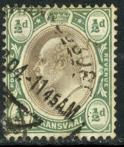 TRANSVAAL 1904-09 KEDVII 1/2d Wmk 3 Multi Crown Portrait Issue Sc 268 VFU