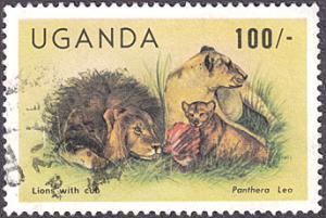 Uganda # 400 used ~ 100sh Lions With Cub