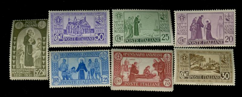 Italy #258-264 MINT F-VF OG Very LH 255 NH Cat$261.50