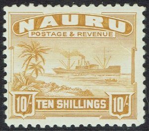 NAURU 1924 SHIP 10/- SMOOTH PAPER