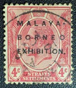 MALAYA BORNEO EXHIBITION MBE opt STRAITS SETTLEMENTS KGV 4c Used MCCA SG#242