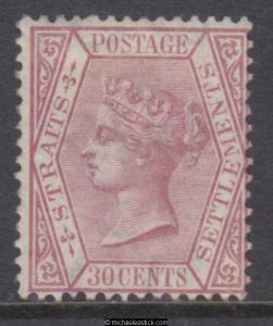 1867 - 1872 Straits Settlements 30c Claret Queen Victoria, SG 17, MH