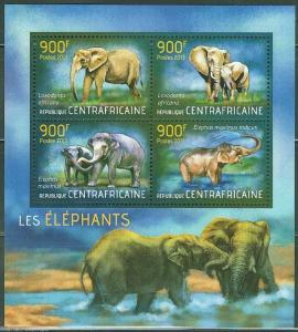 CENTRAL AFRICA 2013 ELEPHANTS  SHEET  MINT NH