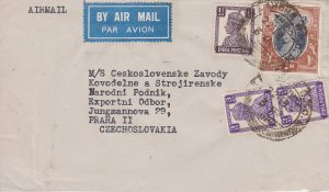 India 1R, 1/2a and 3a (2) KGVI 1947 Lahore G.P.O. Airmail to Prague, Czechosl...
