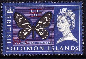 BRITISH SOLOMON IS 1966 QEII 50c on 5/- Black, Ultramarine & Violet SG150B FU