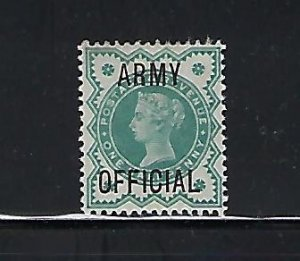 GREAT BRITAIN SCOTT #O57 1900 ARMY OFFICIALS OVPT. 1/2P (BLUE GREE)  MINT HINGED
