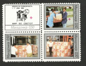 MACEDONIA-MNH** BLOCK OF 4 STAMPS, 0.50 - RED CROSS--1993. (103)