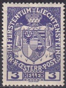 Liechtenstein #4  F-VF Unused   (V4856)
