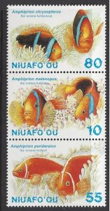Tonga Niuafo'on #203 MNH strip of 3, various fish, issued 1998