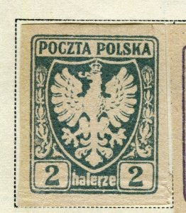 POLAND; 1919 early Imperf issue fine Mint hinged 2h. value