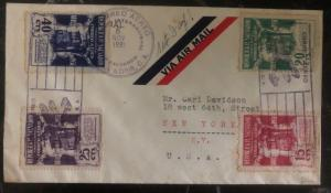 1931 El Salvador First Day cover FDC To New York USA Airmail Stamps SG 792-5