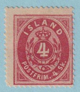 ICELAND 2 MINT HINGED OG * 1873 4sk CARMINE OVAL - NO FAULTS VERY FINE!