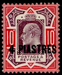 BRITISH LEVANT SG10ba, 4pi on 10d, NO CROSS on CROWN, VLH MINT. Cat £100.