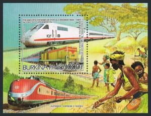 Burkina Faso 770,MNH.Mi Bl.120. Electric train,Series 290 diesel,1986.