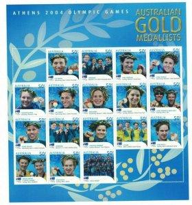 AD329) Australia 2004 Athens Australian Olympic Gold Medallists Sheetlet MUH