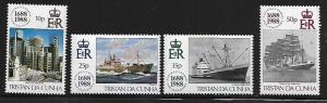TRISTAN DA CUNHU 439-442 MNH LLOYDS OF LONDON, SHIPS, SET