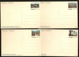 Canada Lot of 4 1970's Pre-stamped 8Cent British Columbia Color Postcards MNH