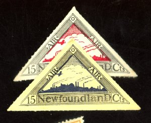 Newfoundland (2) MINT 15垄 Unlisted Air Relief Stamps FVF OG 1 NH