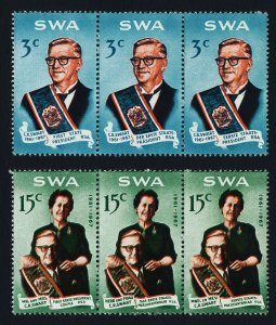 South West Africa SWA 1968 - Swart Commemoration MNH strips set # 312-313