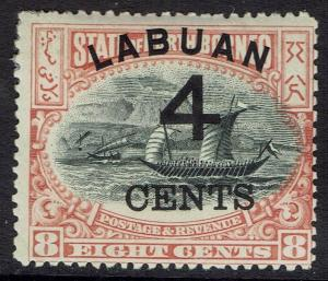 LABUAN 1899 4 CENTS OVERPRINTED DHOW 8C PERF 13.5 - 14