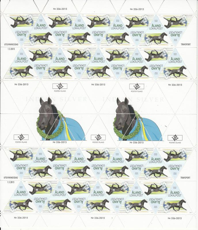 Aland 2015 MNH Complete Sheet of 36 Indian Silver, harness racing horse