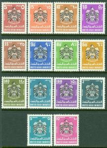 EDW1949SELL : UAE 1977 Scott #91-104 Complete set. Very Fine, Mint OG. Cat $97.