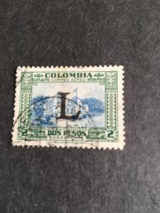 Coombia 2015 Sc. #C183 Used Cat. $6. 1950 Air Mail 2p green & Bright Blue