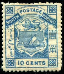 HERRICKSTAMP NORTH BORNEO Sc.# 10 Mint Hinged Scott Retail $55.00